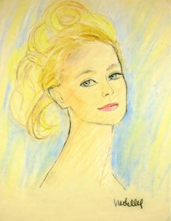 French Woman Portrait in Oil Pastel