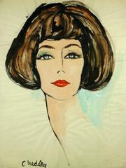 French Brunette Woman Portrait