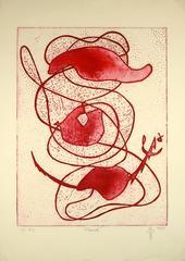 Red Abstract Aquatint