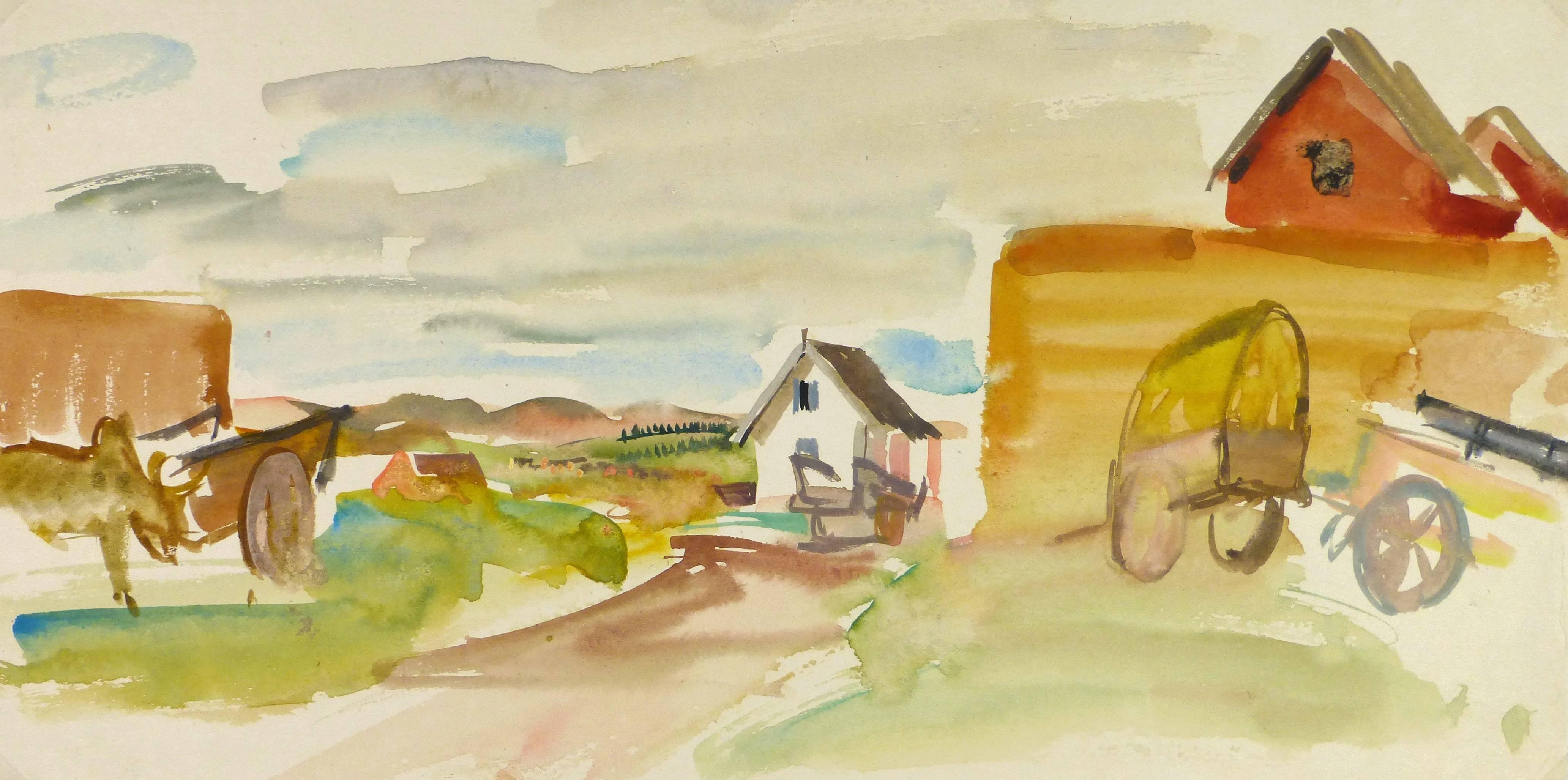 Serene Farm in Watercolors