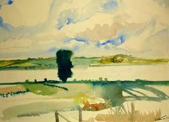 Serene Pasture in Watercolor