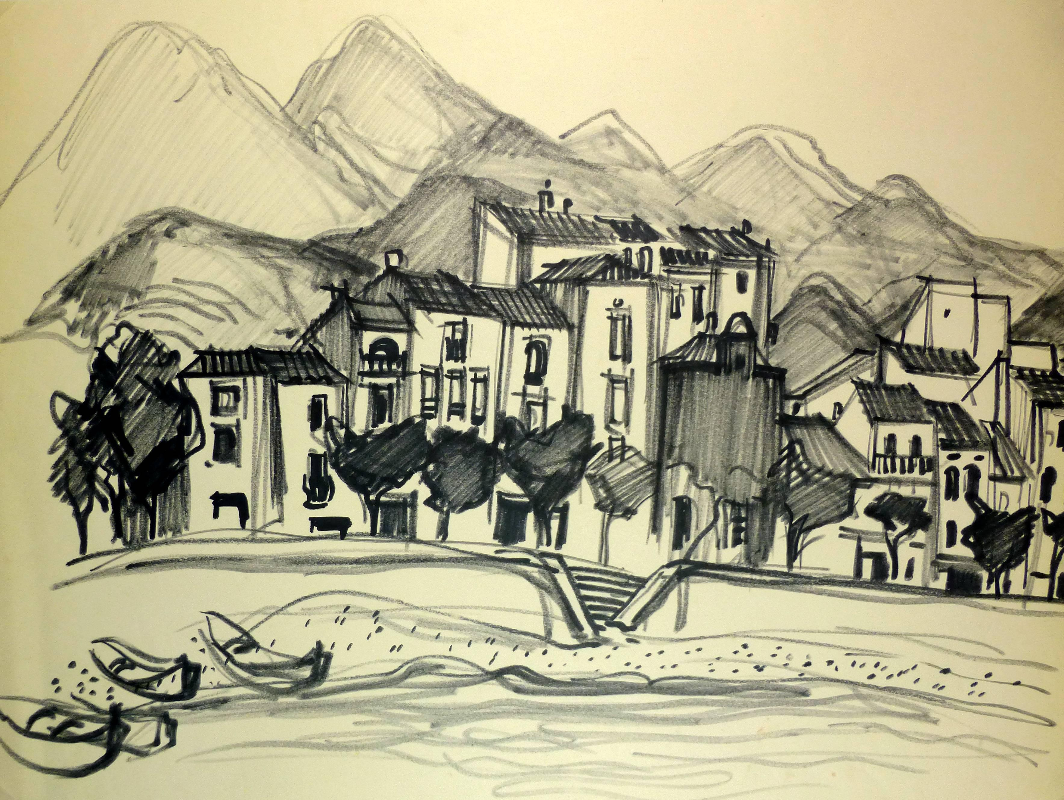 Provence Town with Mountains