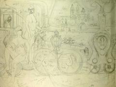 Sketches of Nudes with Architectural Elements