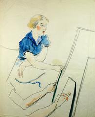 Woman in Blue at Easel