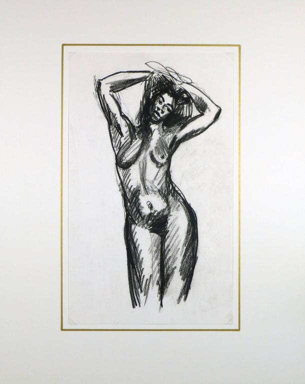 Charcoal Sketch of Nude Female For Sale 1
