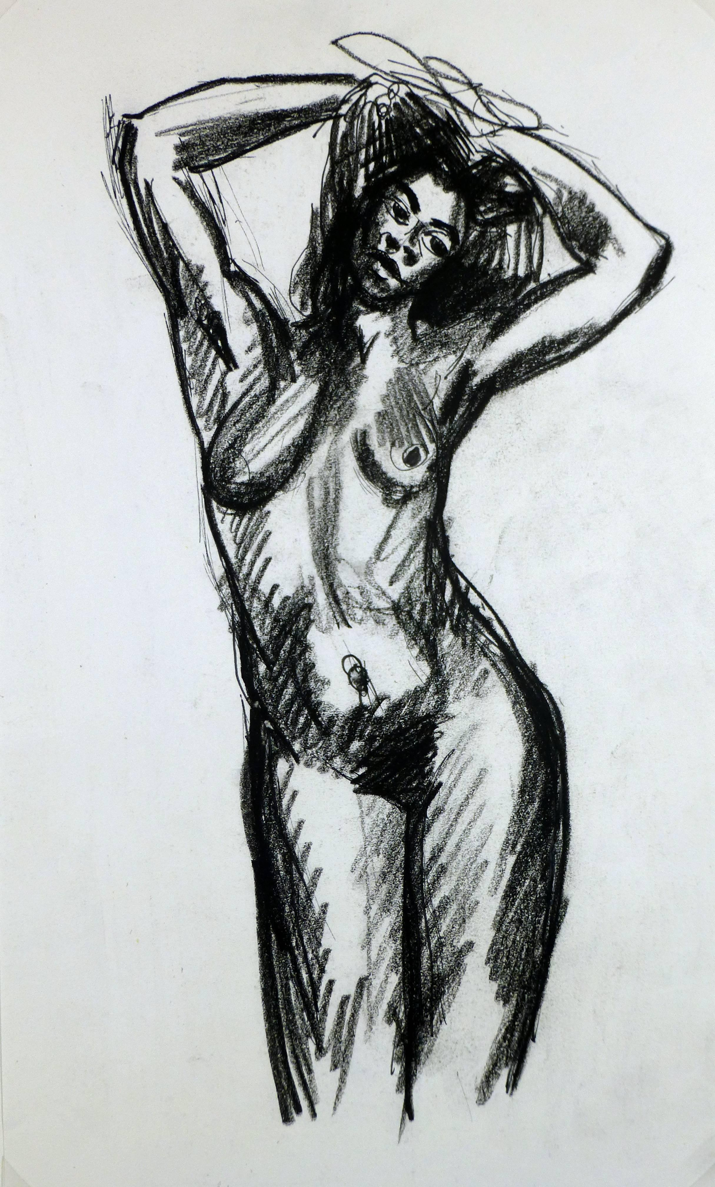 Charcoal Sketch of Nude Female