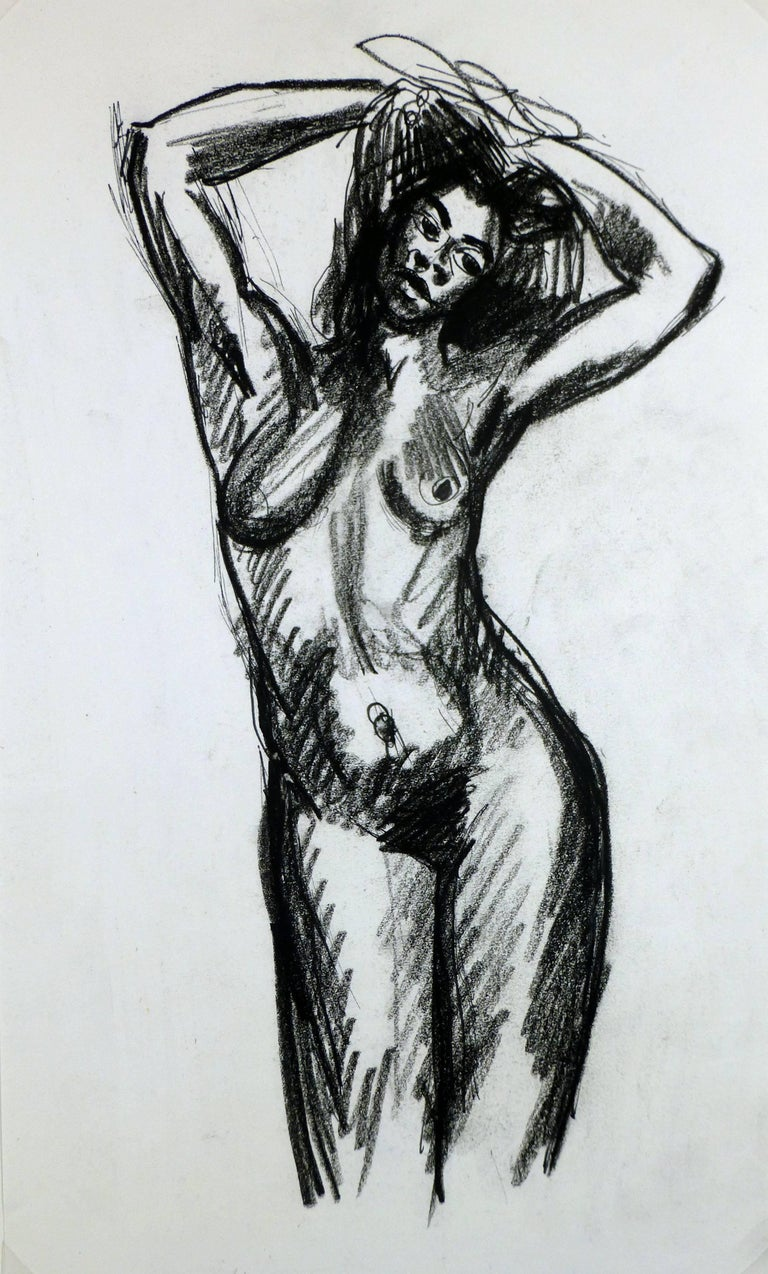 Charcoal Sketch of Nude Female - Art by Unknown