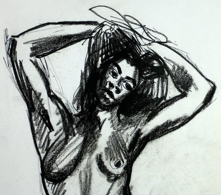 Charcoal sketch of nude female with hands behind her head, circa 1990.    Original artwork on paper displayed on a white mat with a gold border. Archival plastic sleeve and Certificate of Authenticity included. Artwork, 13.75