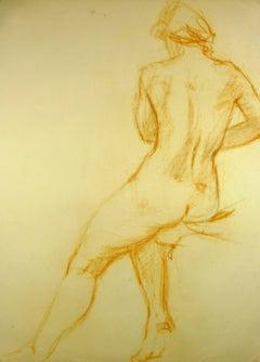 Nude from Behind in Orange Pastel