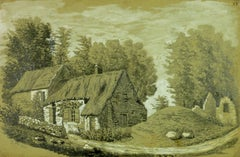 French Drawing of a Thatched Cottage