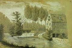 Drawing of French house on River