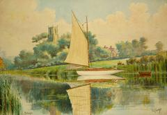 English Watercolor of Sailboat on Norfolk Broads
