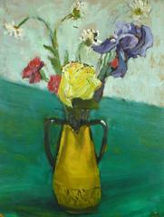 Still Life Flowers in Yellow Vase