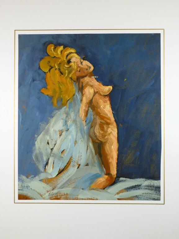 Nude Female on Blue - Gray Nude Painting by Raymond Bailly