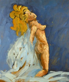 Nude Female on Blue
