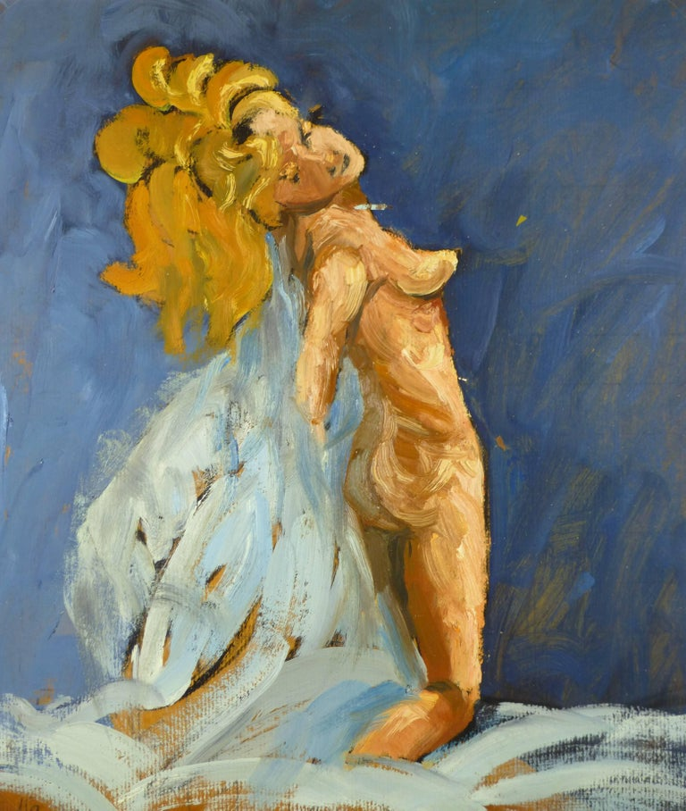 Raymond Bailly Nude Painting - Nude Female on Blue
