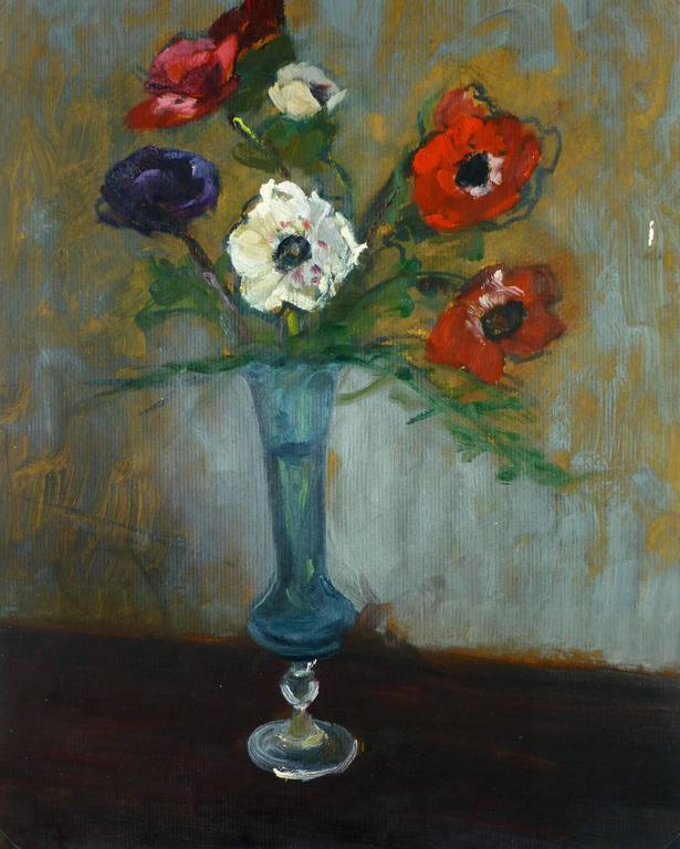 Still Life Roses in Blue Vase