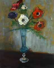 French Oil Painting - Still Life Roses in Blue Vase