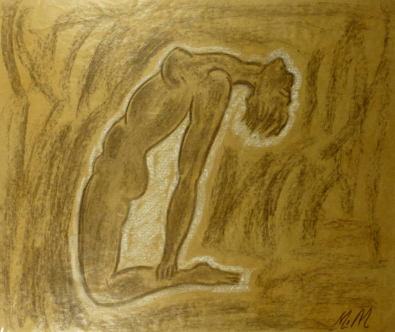 Arching Female Nude in Charcoal