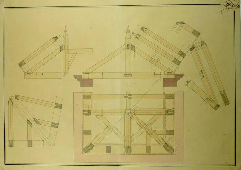 unknown drafting style architectural drawing for sale at