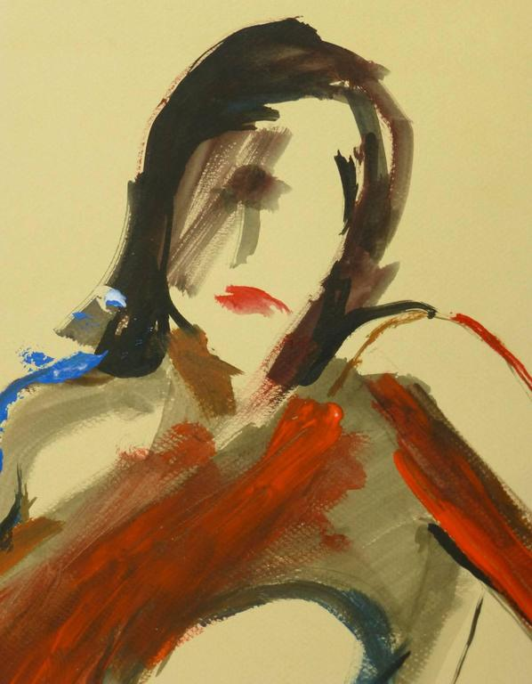 Nude in Red - Painting by Unknown