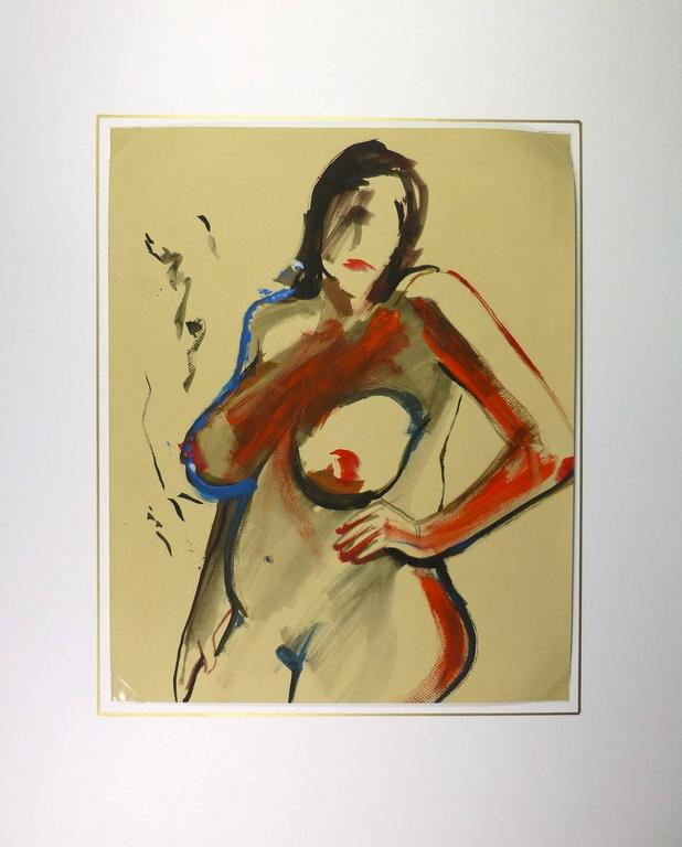 Nude in Red - Brown Nude Painting by Unknown