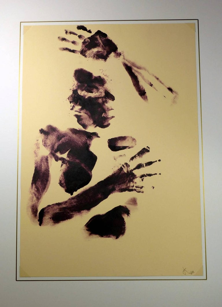 Acrylic body art featuring upper torso, arms and face by American artist Kismine Varner, circa 1990. Signed lower right.    Original artwork on paper displayed on a white mat with a gold border. Mat fits a standard-size frame.  Archival plastic