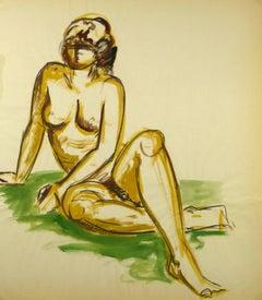 Female Nude Sitting on Green