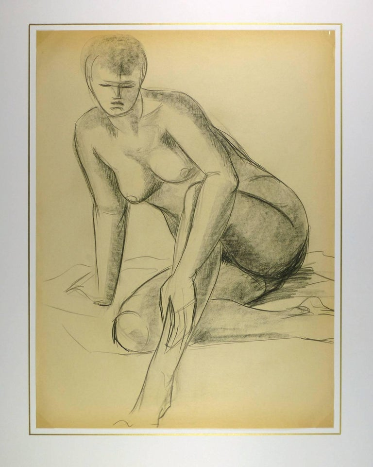Charcoal drawing of female nude in seated pose by French artist A. Delamaire, circa 1930.   Original artwork on paper displayed on a white mat with a gold border. Mat fits a standard-size frame.  Archival plastic sleeve and Certificate of