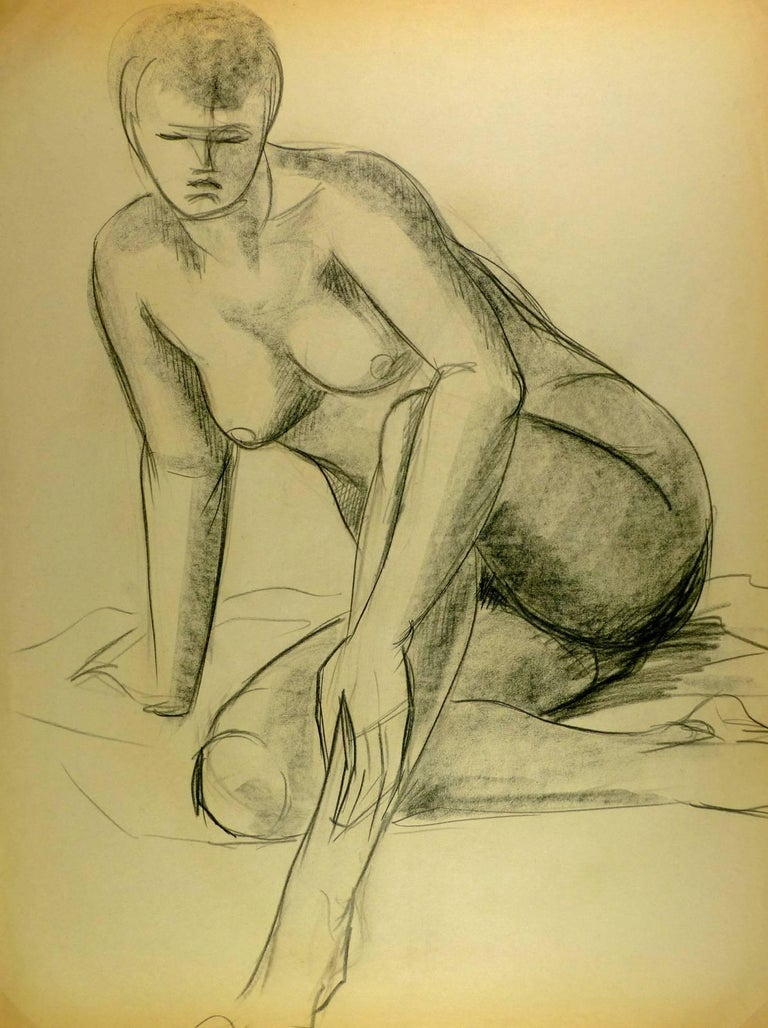Seated Nude - Art by A. Delamaire