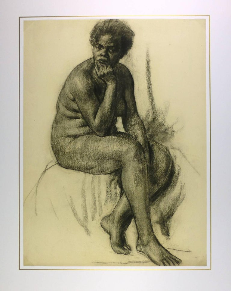 French female nude charcoal drawing by artist A. Delamaire, circa 1930.   Original artwork on paper displayed on a white mat with a gold border. Mat fits a standard-size frame.  Archival plastic sleeve and Certificate of Authenticity included.