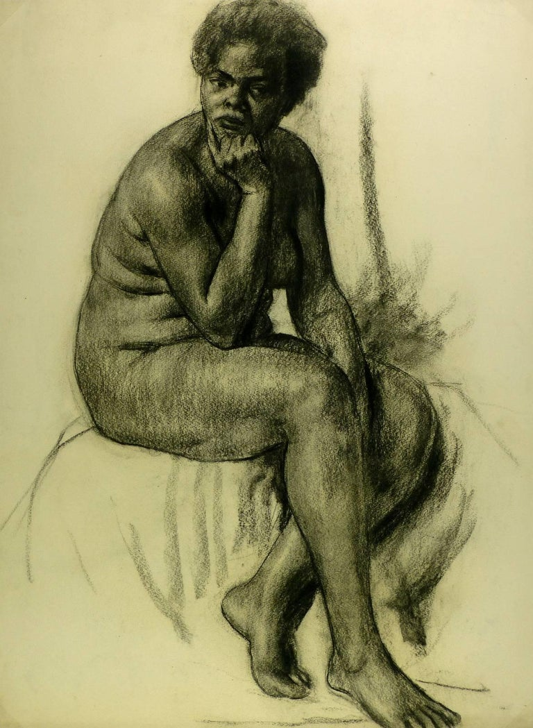 Charcoal Female Nude - Art by A. Delamaire
