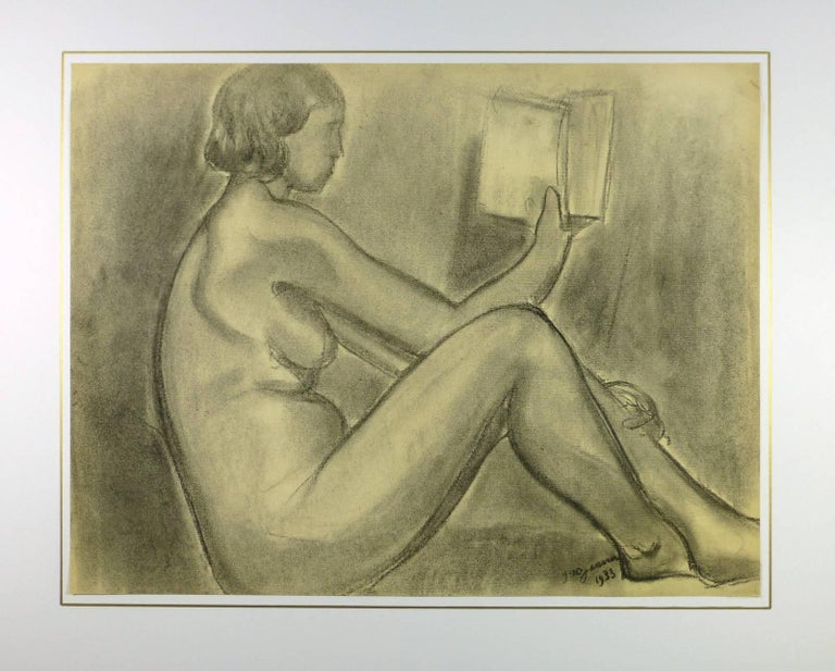 Delightful charcoal drawing of nude female reading by French artist A. Delamaire, circa 1930.  Signed and dated lower right.  Original artwork on paper displayed on a white mat with a gold border. Mat fits a standard-size frame.  Archival plastic
