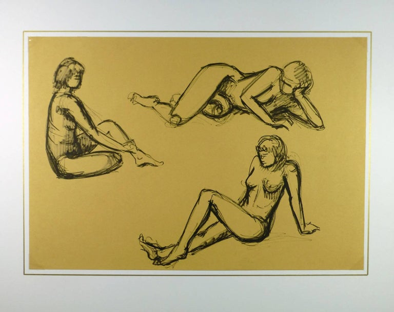 Nude trio in distinct poses sketched in charcoal by French artist A. Delamaire, circa 1930.   Original artwork on paper displayed on a white mat with a gold border. Mat fits a standard-size frame.  Archival plastic sleeve and Certificate of