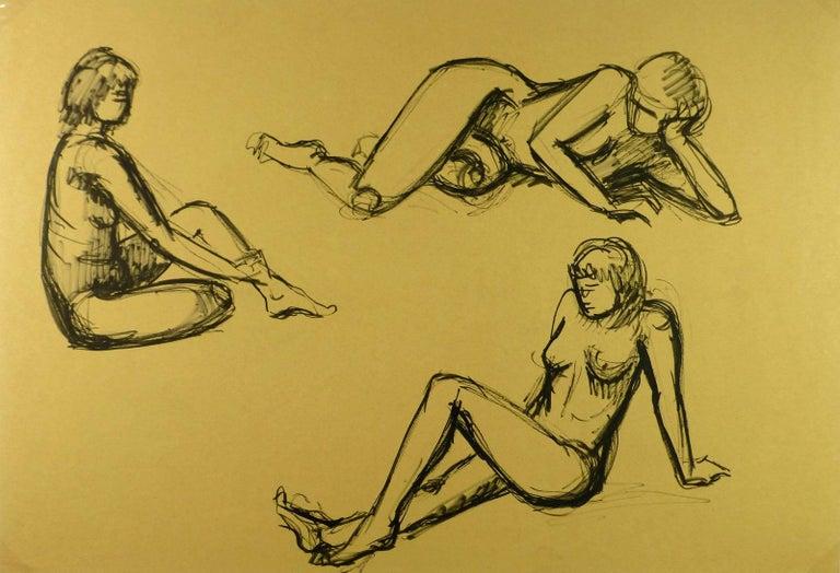 Trio of Nudes - Art by A. Delamaire