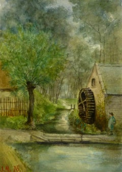 Antique Landscape Watercolor - Mill House Water Wheel