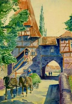 Vintage Watercolor Landscape - The Village Gate Entrance
