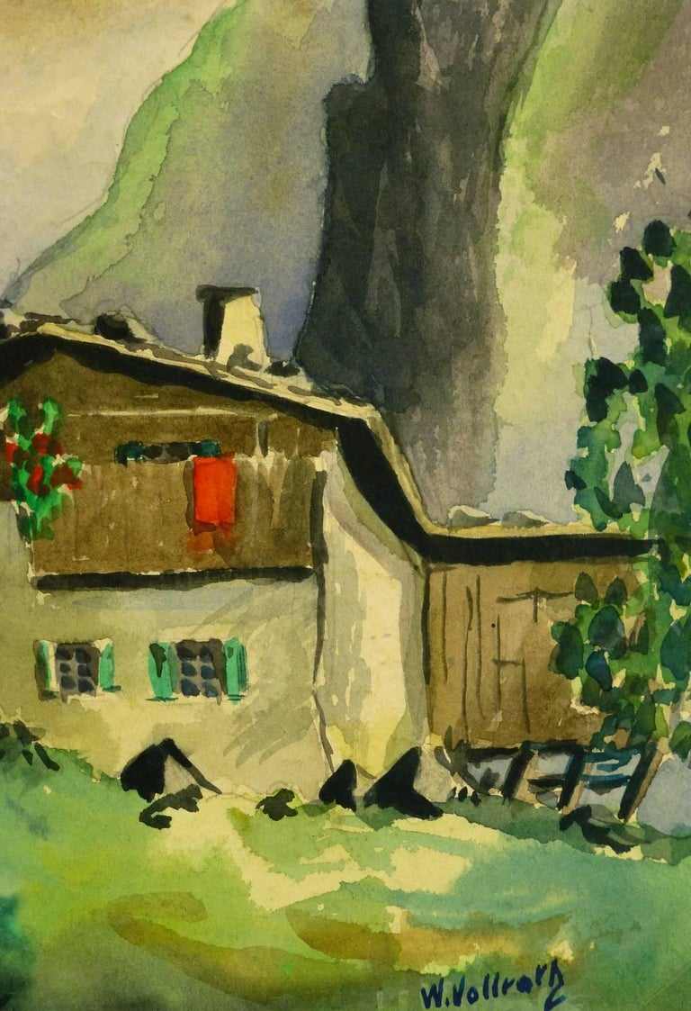 Mountain Landscape - Alpine Chalet - Painting by Unknown