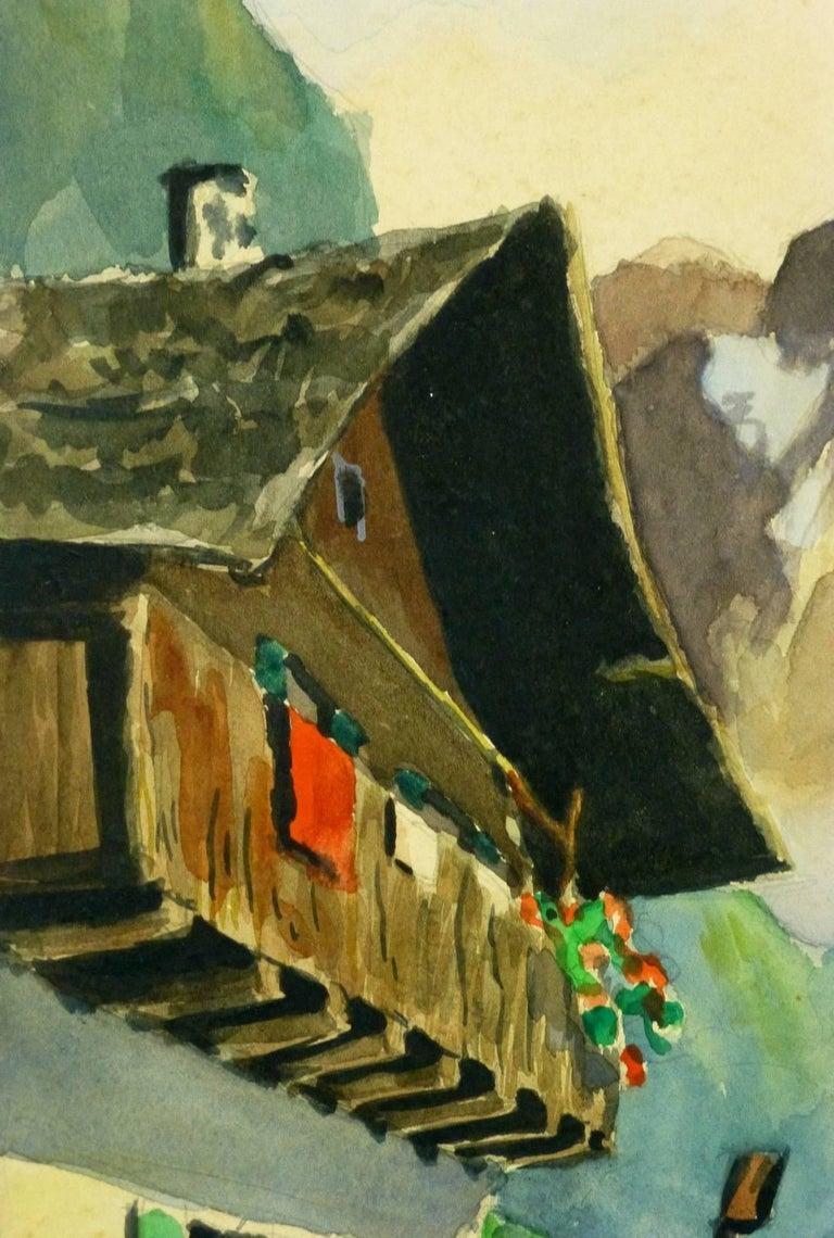 Mountain Landscape - Alpine Chalet - Brown Landscape Painting by Unknown