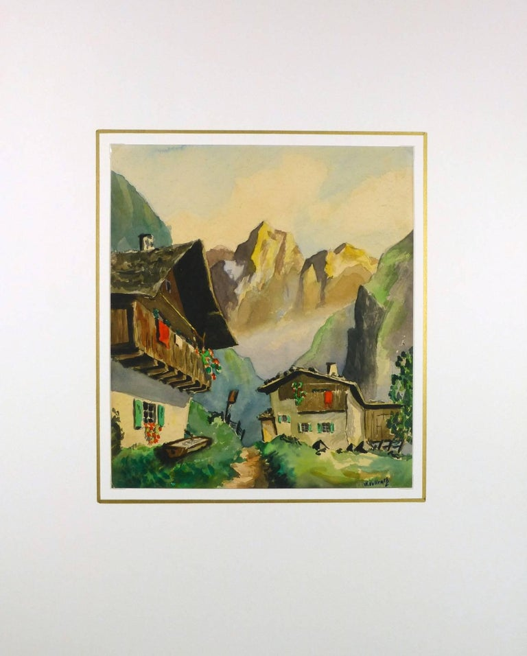 Lovely gouache painting of alpine chalets by German artist W. Vollroth, c. 1950. Signed lower right.    Original artwork on paper displayed on a white mat with a gold border. Mat fits a standard-size frame.  Archival plastic sleeve and Certificate