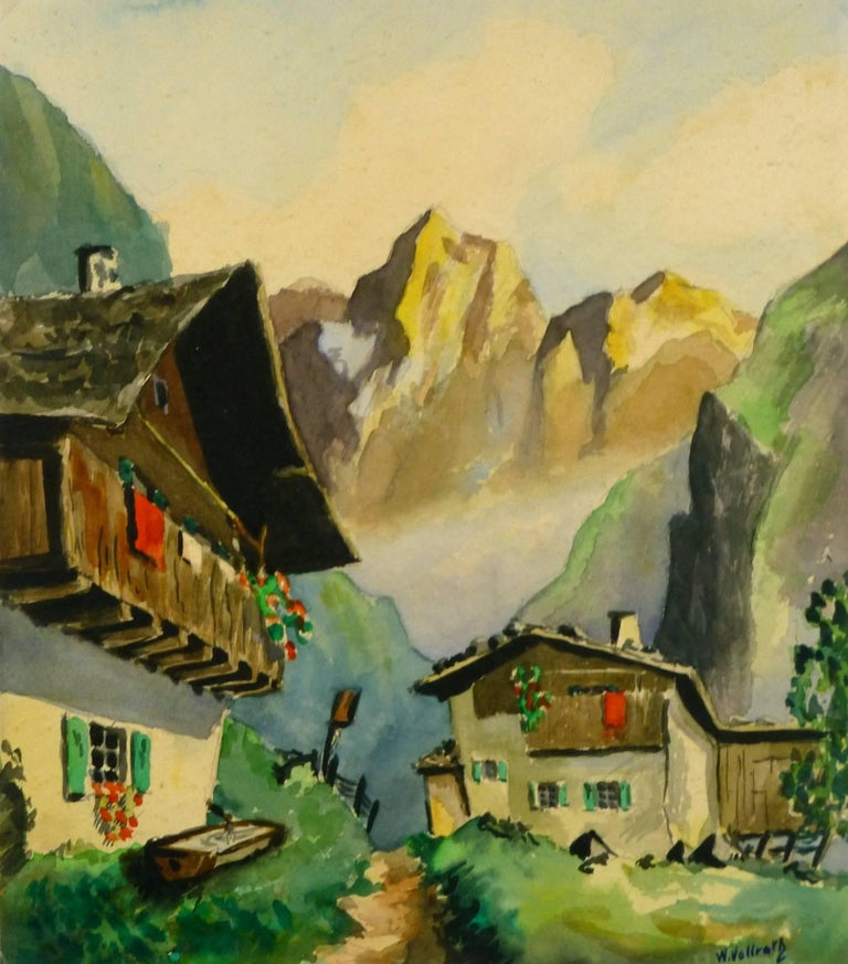 Unknown Landscape Painting - Mountain Landscape - Alpine Chalet