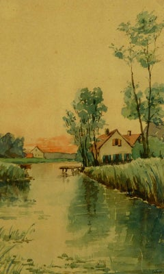 French Watercolor - Warmly Lit House on Waterfront