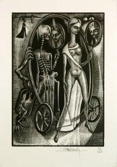 Female Figure and Skeletal Woodcut