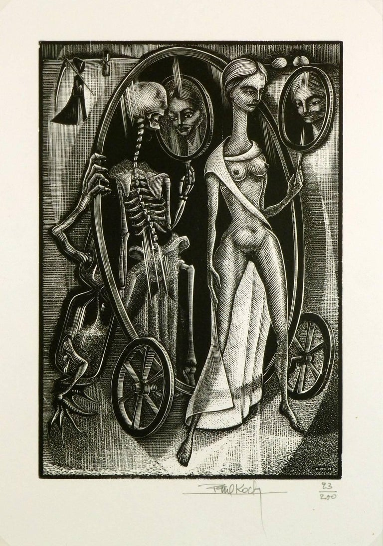 Female Figure and Skeletal Woodcut