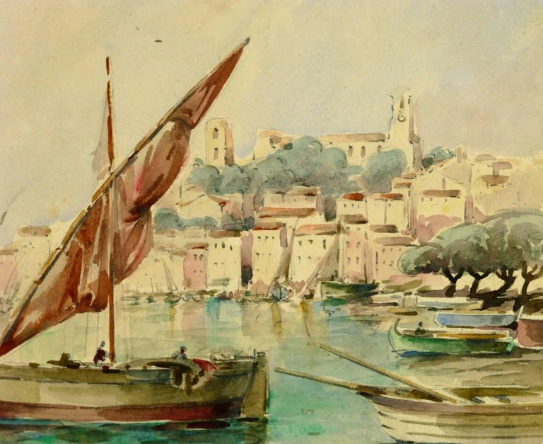 Bay of Cannes - Beige Landscape Art by Gaston Coursaget
