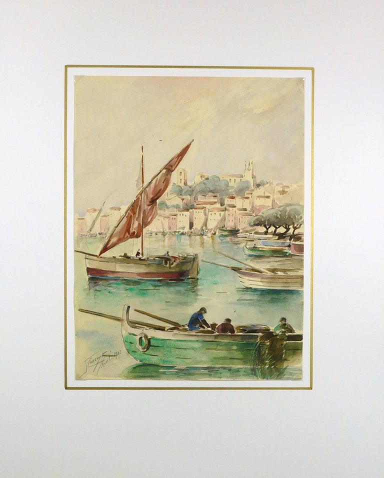 Delightful watercolor and pencil painting of sailboats in the bay of Cannes by French artist Gaston Coursaget, 1927. Signed lower left.    Original artwork on paper displayed on a white mat with a gold border. Mat fits a standard-size frame.