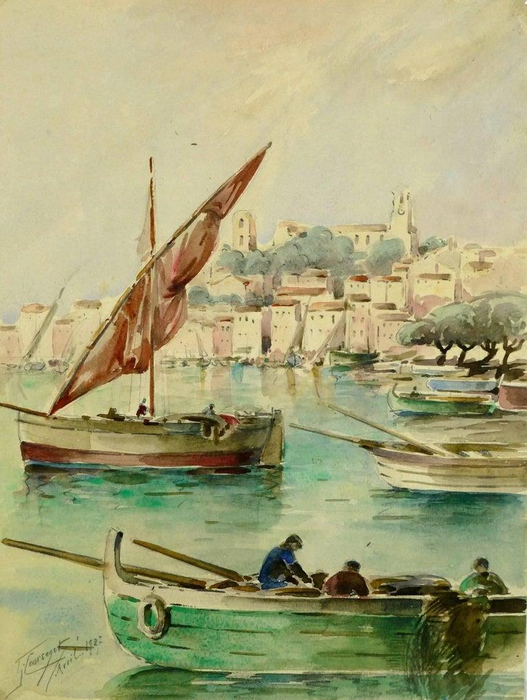 Gaston Coursaget Landscape Art - Bay of Cannes
