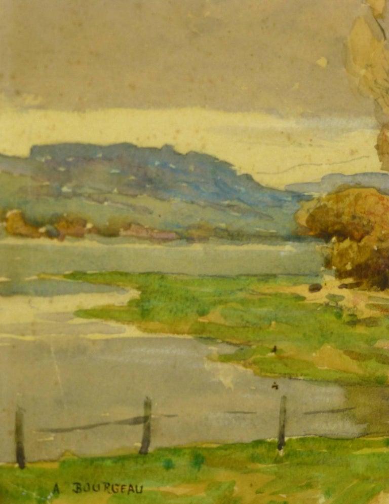 French Landscape Watercolor - Serene Open Field - Art by Unknown