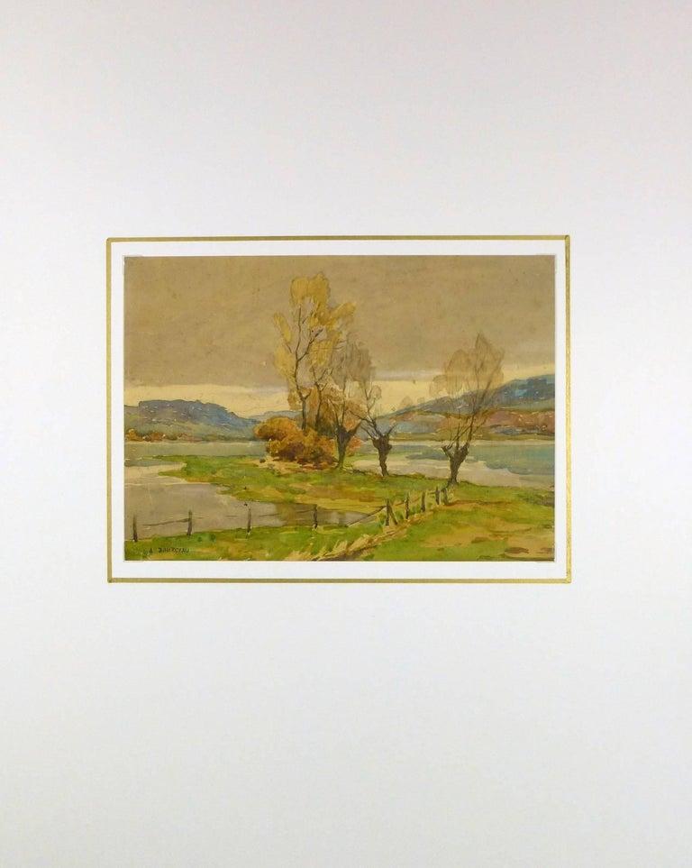 French Landscape Watercolor - Serene Open Field - Brown Landscape Art by Unknown