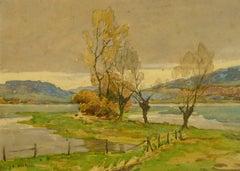 French Landscape Watercolor - Serene Open Field